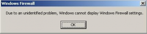 Windows Firewall error message